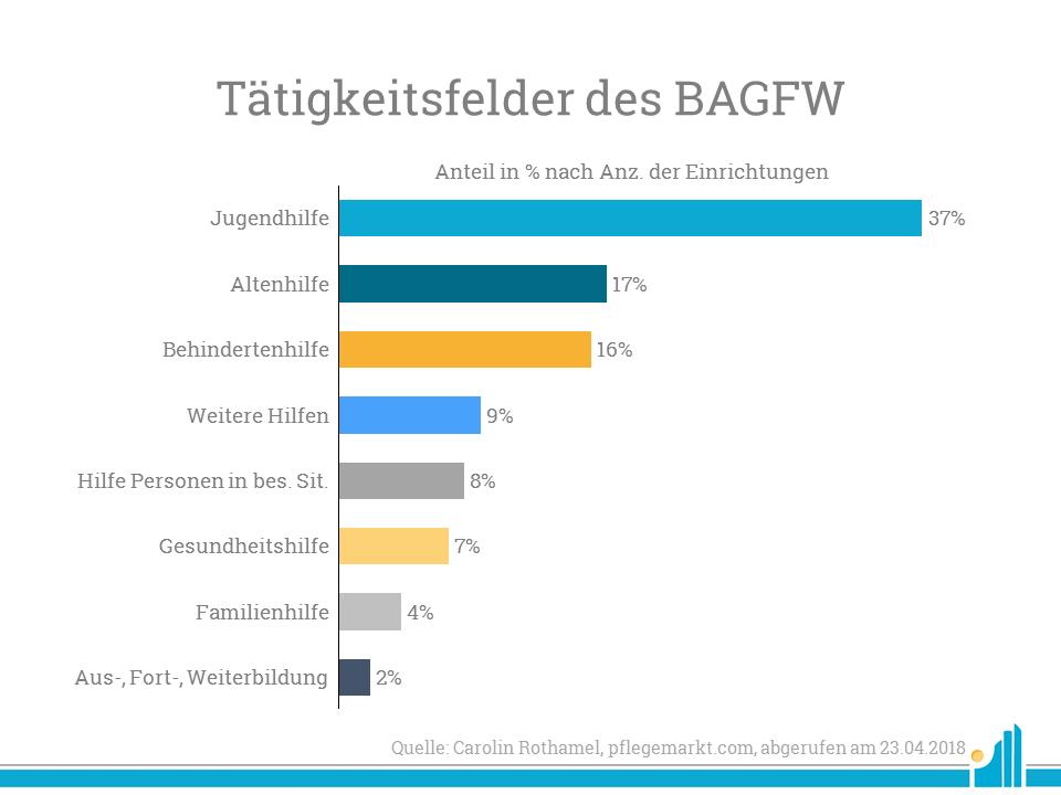 Wohlfahrtsmonitor: Vor Allem in der Jugend- und Altenhilfe sind die Mitglieder der Bundesarbeitsgemeinschaft sehr aktiv.