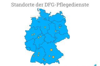 Eine Karte mit den Standorten der Pflegedienste der Deutsche Fachpflege Gruppe