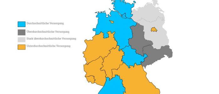 Das Bild zeigt eine Karte, die die Verteilung der Tagespflege in Deutschland darstellt.