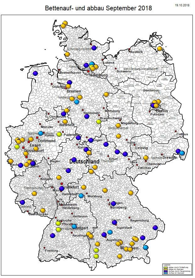 WDie Karte zeigt die geographische Verortung der Pflegeheime mit Bettenab- und Aufbau, inklusive Schließungen.
