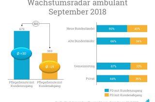 Im Vergleich nahmen vor allem Pflegedienste in den alten Bundesländern neue Kunden auf - auch gemeinnützige Pflegedienste konnten ihren Kundenstamm öfter aufstocken.