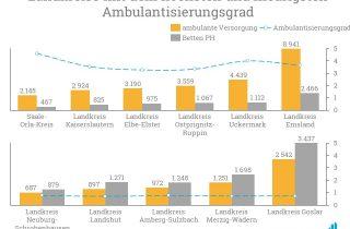 Besonders der Landkreis Uckermark zeigt einen hohen Ambulantisierungsgrad.