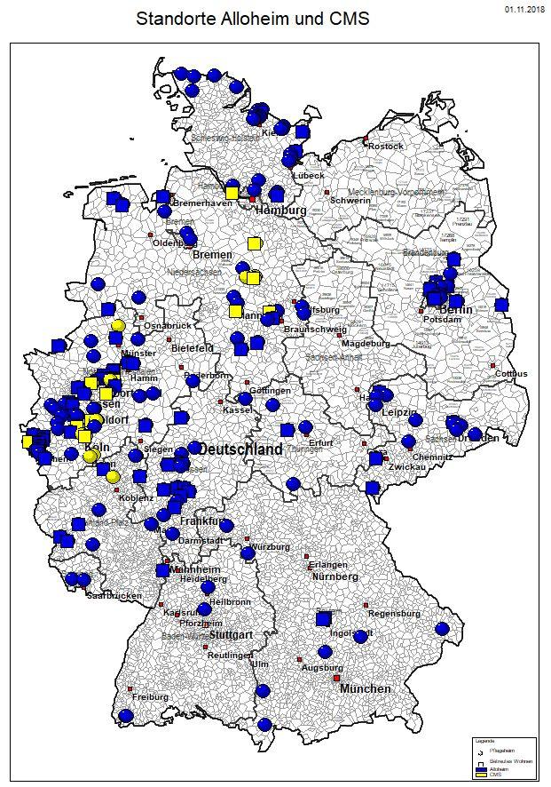 Standorte der betreuten Wohnanlagen (Quadrat) und Pflegeheime (Kreis) von Alloheim (blau) und CMS (gelb)