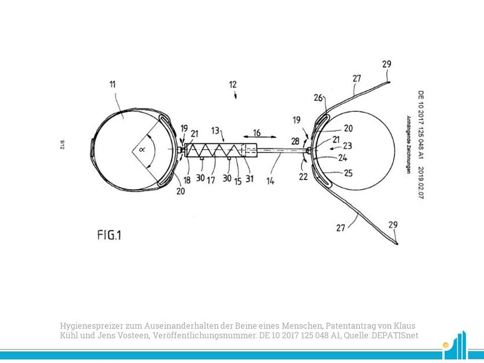 Patentradar: Patent für einen Hygienespreizer zum Auseinanderhalten der Beine eines Menschen