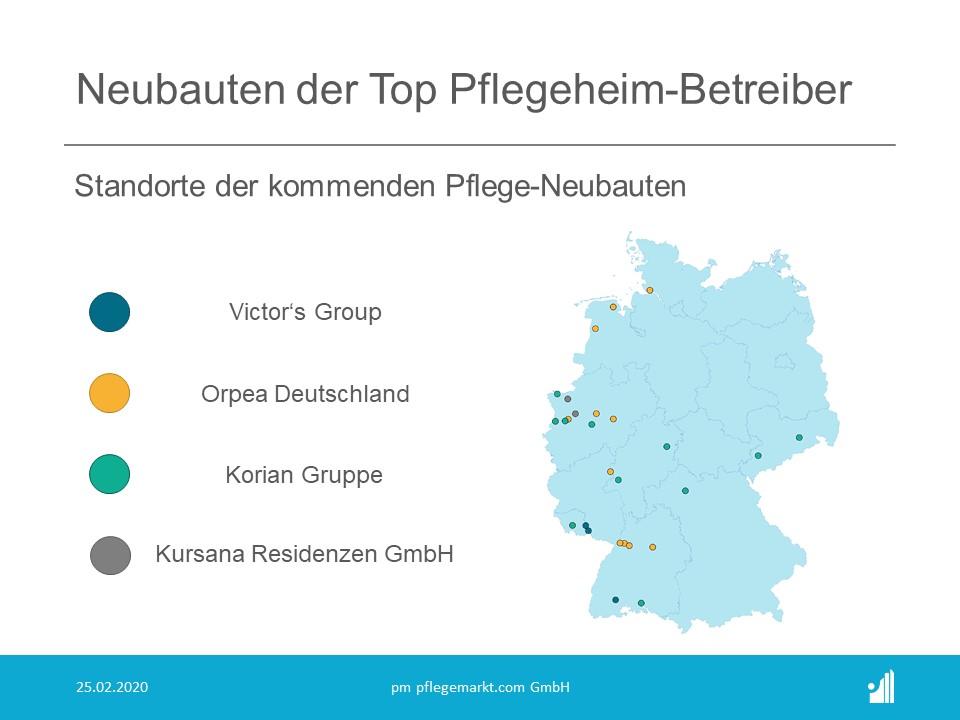 Übersicht der Neubauten der Top Pflegeheimbetreiber in Deutschland Stand Februar 2020