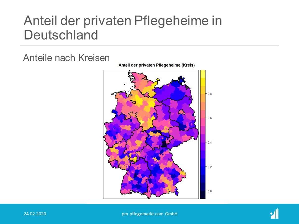 Regressionsanalyse Konstenfaktor Pflege - Anteil private Pflegeheime Deutschland nach Kreisen
