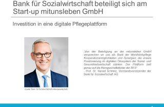 Bank für Sozialwirtschaft beteiligt sich an mitunsleben GmbH