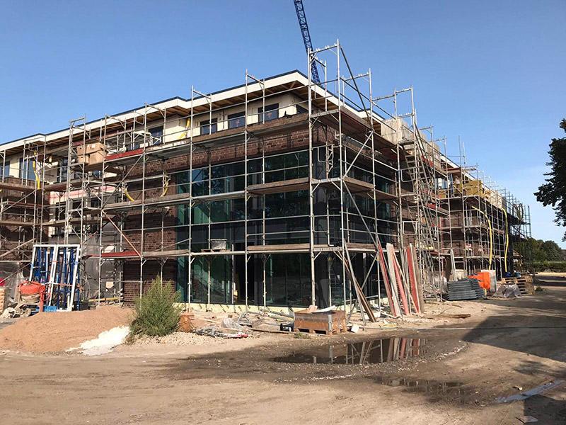 Ein Blick auf das im Bau befindliche neue PflegeButler Haus in Schortens