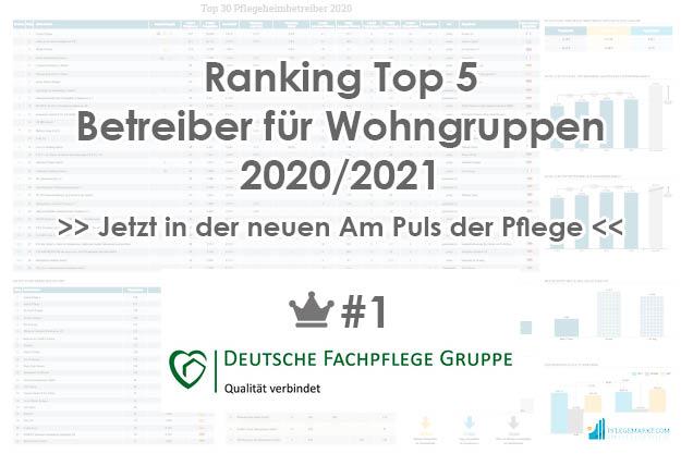 Deutsche Fachpflege Gruppe Platz 1 der Top 5 Betreiber Wohngruppen 2020/2021