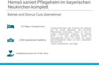 Hemsö erwirbt Pflegeheim im bayerischen Neukirchen und beginnt Komplettsanierung